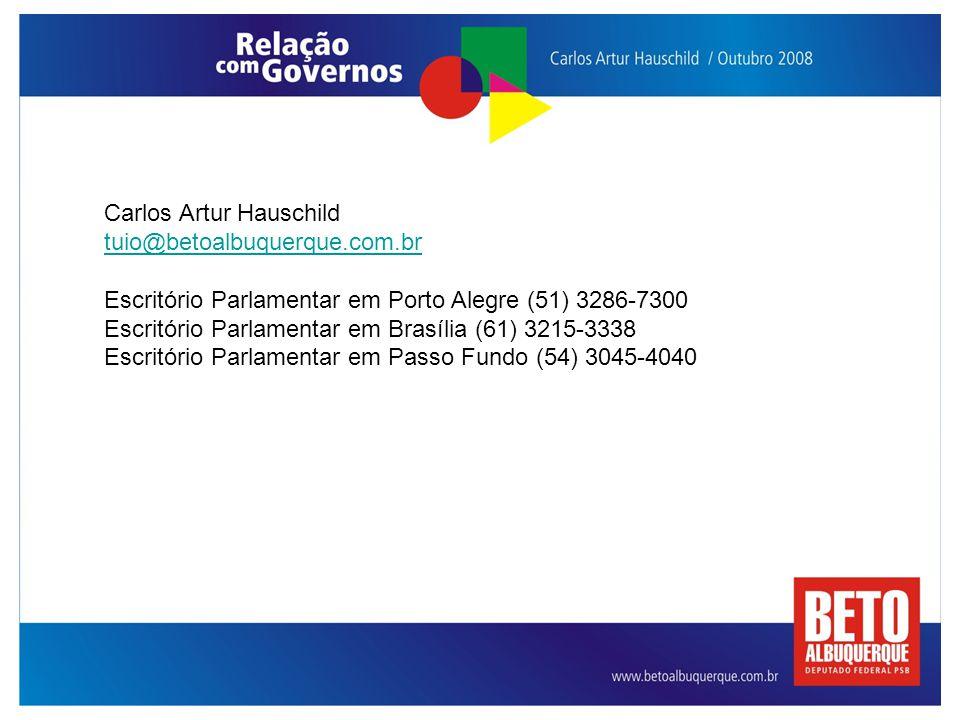 Carlos Artur Hauschild tuio@betoalbuquerque.com.br Escritório Parlamentar em Porto Alegre (51) 3286-7300 Escritório Parlamentar em Brasília (61) 3215-