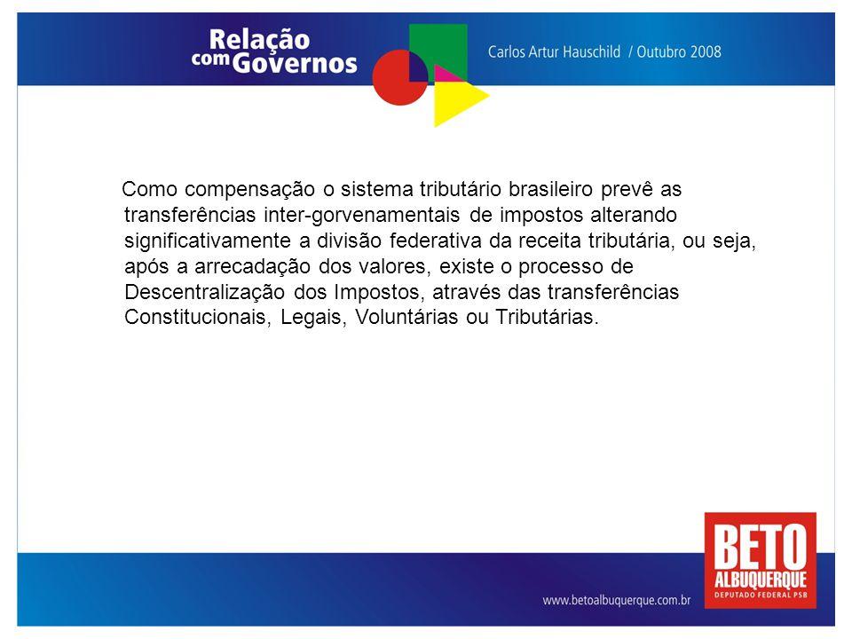 Como compensação o sistema tributário brasileiro prevê as transferências inter-gorvenamentais de impostos alterando significativamente a divisão feder