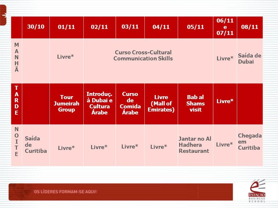 30/1001/1102/1103/1104/1105/11 06/11 e 07/11 08/11 MANHÃMANHÃ TARDETARDE Tour Jumeirah Group Introduç.