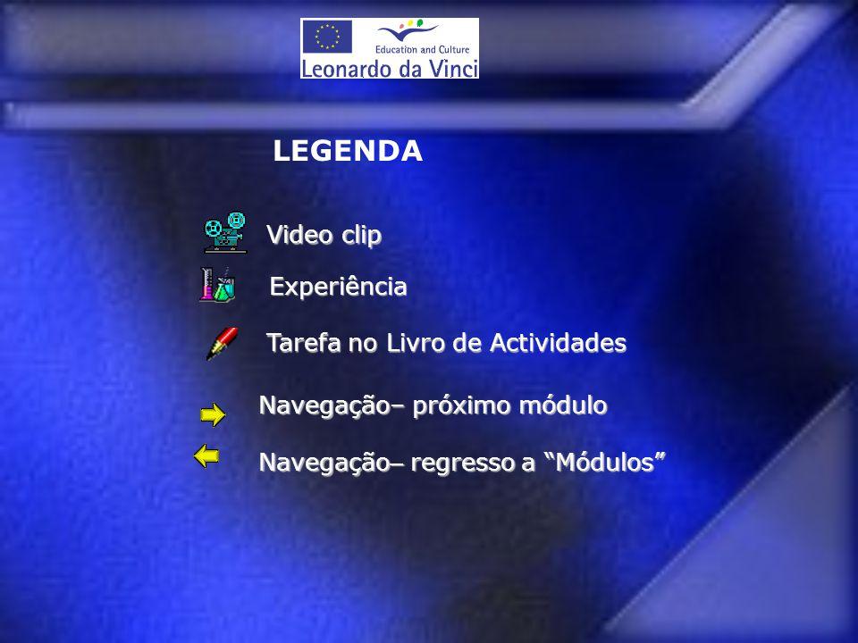 """Tarefa no Livro de Actividades Navegação– próximo módulo Navegação – regresso a """"Módulos"""" Experiência Video clip Video clip LEGENDA"""