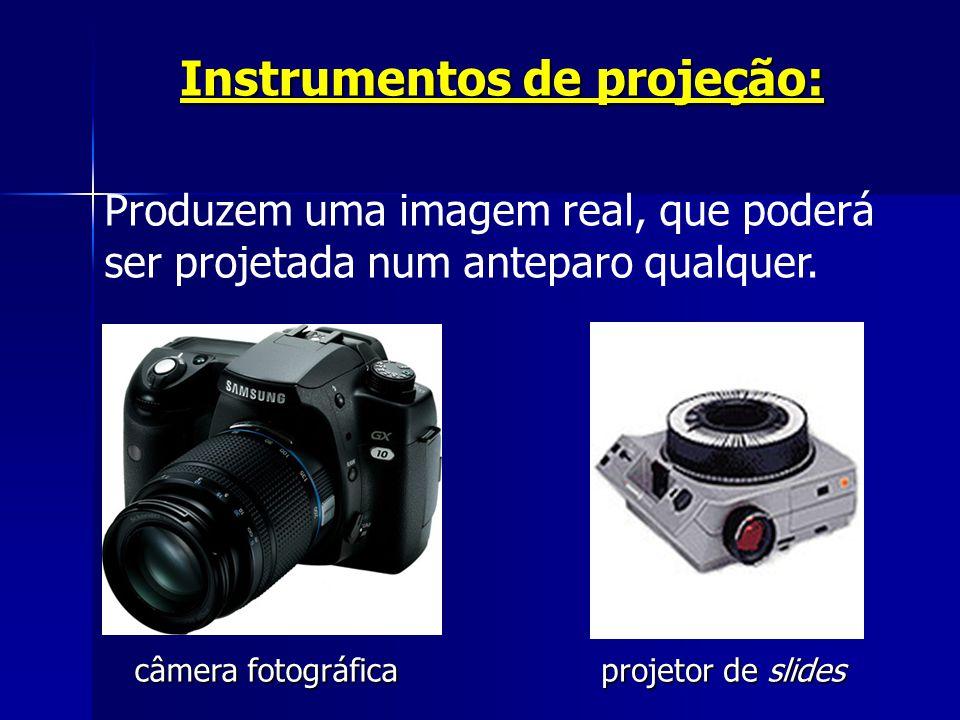 Instrumentos de projeção: Produzem uma imagem real, que poderá ser projetada num anteparo qualquer. câmera fotográficaprojetor de slides