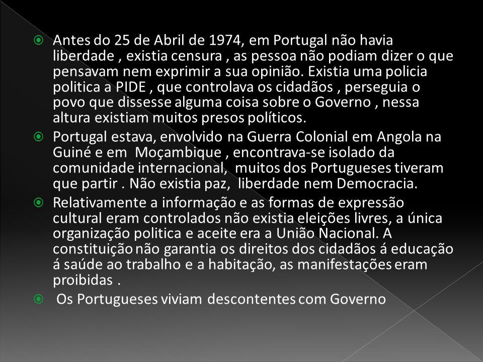  Antes do 25 de Abril de 1974, em Portugal não havia liberdade, existia censura, as pessoa não podiam dizer o que pensavam nem exprimir a sua opinião