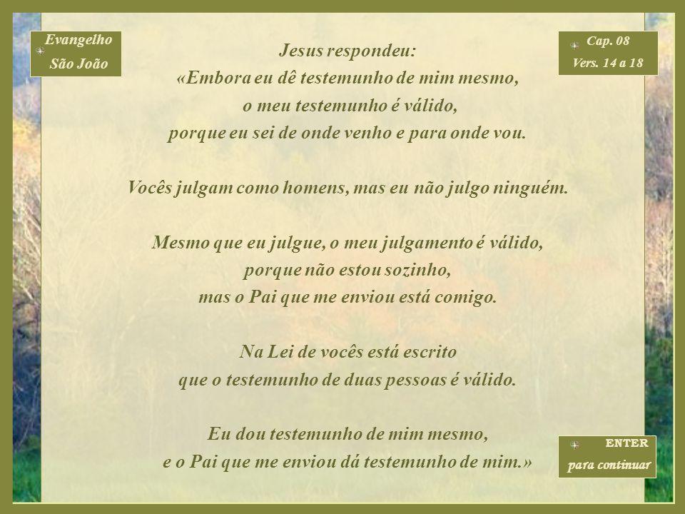 Jesus respondeu: «Embora eu dê testemunho de mim mesmo, o meu testemunho é válido, porque eu sei de onde venho e para onde vou.