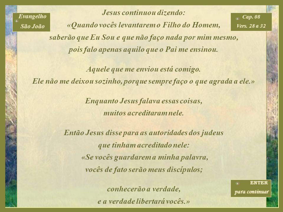 Jesus continuou a falar: «Vocês são daqui de baixo, eu sou lá de cima. Vocês são deste mundo, mas eu não sou deste mundo. É por isso que eu digo que v
