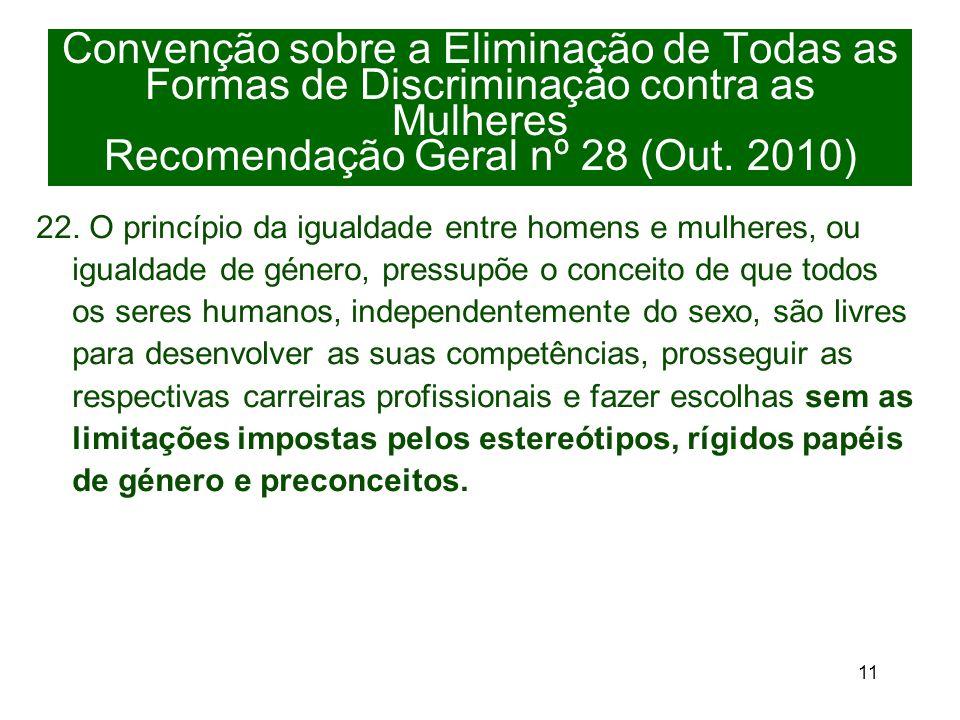 11 Convenção sobre a Eliminação de Todas as Formas de Discriminação contra as Mulheres Recomendação Geral nº 28 (Out.