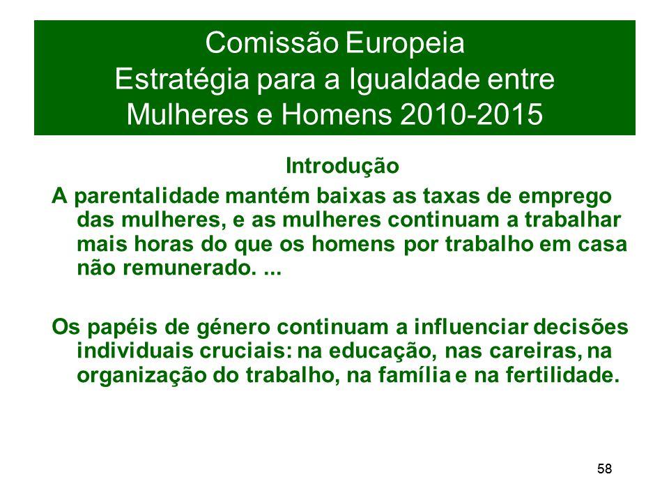 58 Comissão Europeia Estratégia para a Igualdade entre Mulheres e Homens 2010-2015 Introdução A parentalidade mantém baixas as taxas de emprego das mulheres, e as mulheres continuam a trabalhar mais horas do que os homens por trabalho em casa não remunerado....