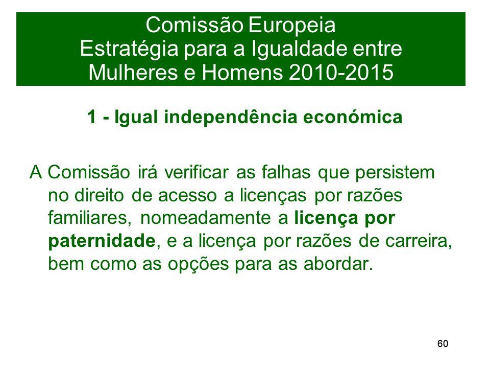 60 Comissão Europeia Estratégia para a Igualdade entre Mulheres e Homens 2010-2015 1 - Igual independência económica A Comissão irá verificar as falhas que persistem no direito de acesso a licenças por razões familiares, nomeadamente a licença por paternidade, e a licença por razões de carreira, bem como as opções para as abordar.