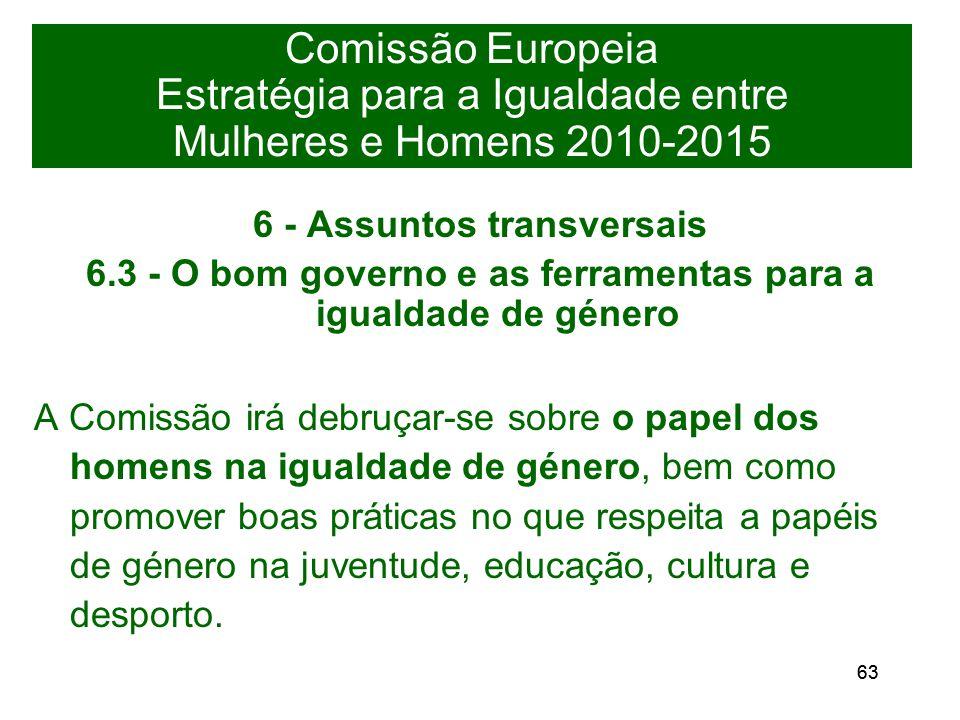 63 Comissão Europeia Estratégia para a Igualdade entre Mulheres e Homens 2010-2015 6 - Assuntos transversais 6.3 - O bom governo e as ferramentas para a igualdade de género A Comissão irá debruçar-se sobre o papel dos homens na igualdade de género, bem como promover boas práticas no que respeita a papéis de género na juventude, educação, cultura e desporto.