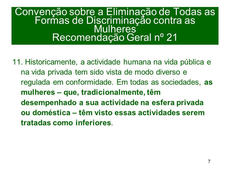 7 Convenção sobre a Eliminação de Todas as Formas de Discriminação contra as Mulheres Recomendação Geral nº 21 11.