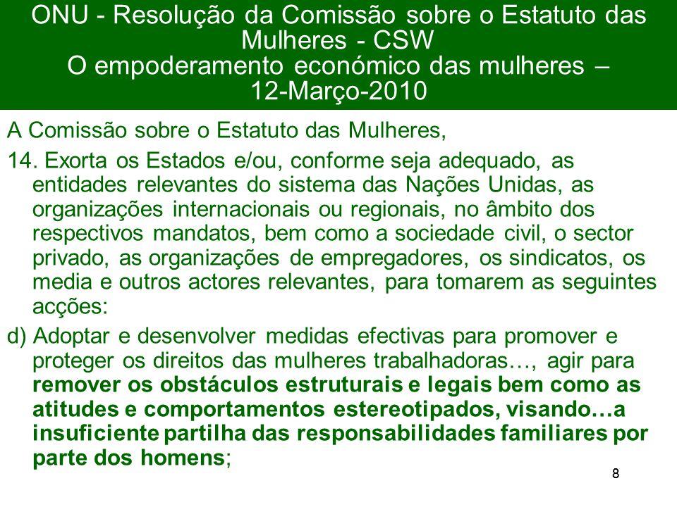 88 ONU - Resolução da Comissão sobre o Estatuto das Mulheres - CSW O empoderamento económico das mulheres – 12-Março-2010 A Comissão sobre o Estatuto das Mulheres, 14.