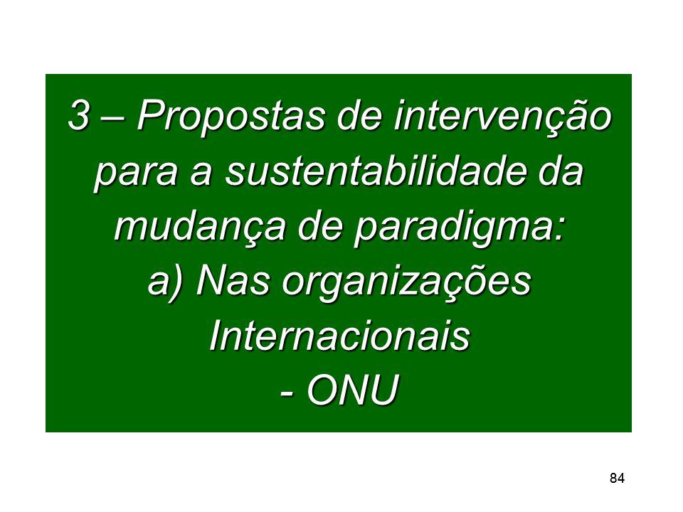 84 3 – Propostas de intervenção para a sustentabilidade da mudança de paradigma: a) Nas organizações Internacionais - ONU
