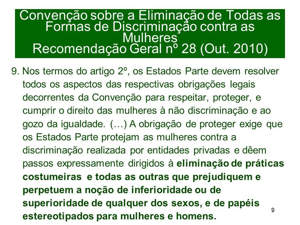 9 Convenção sobre a Eliminação de Todas as Formas de Discriminação contra as Mulheres Recomendação Geral nº 28 (Out.