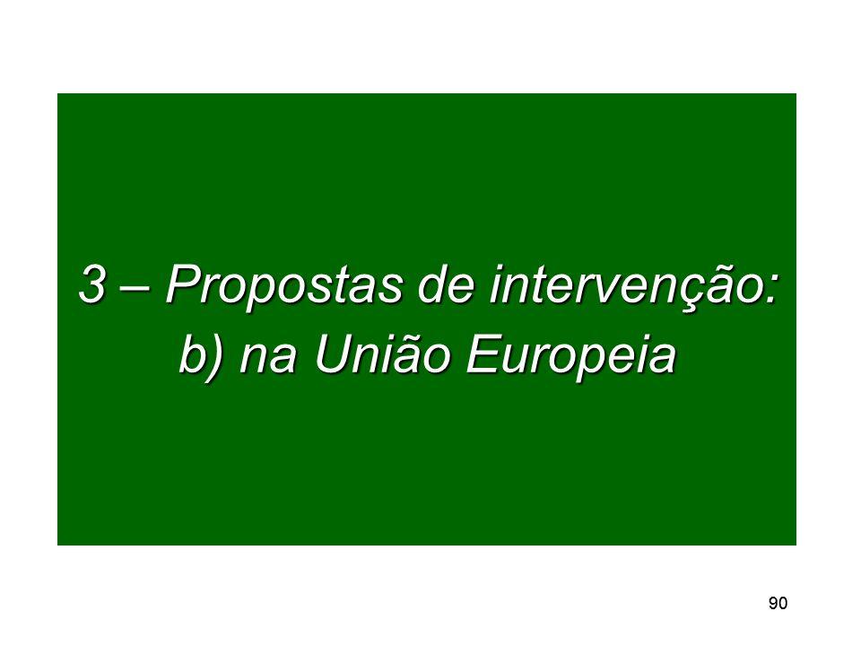 90 3 – Propostas de intervenção: b) na União Europeia