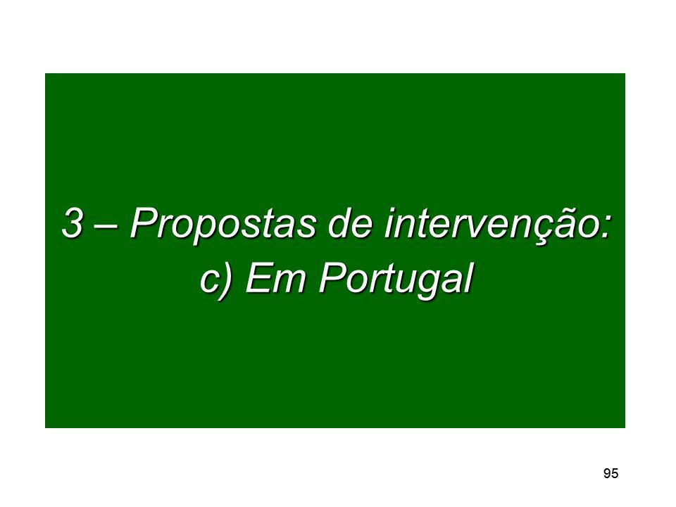 95 3 – Propostas de intervenção: c) Em Portugal