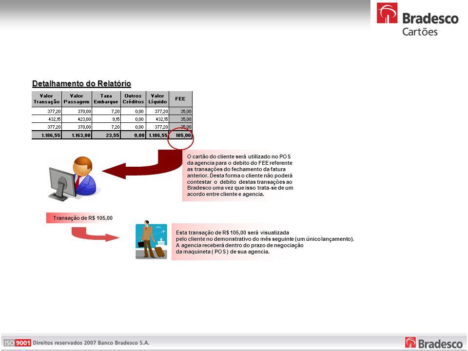 Detalhamento do Relatório O cartão do cliente será utilizado no POS da agencia para o debito do FEE referente as transações do fechamento da fatura anterior.