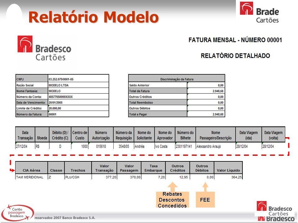 Relatório Modelo Relatório Modelo RebatesDescontosConcedidosFEE