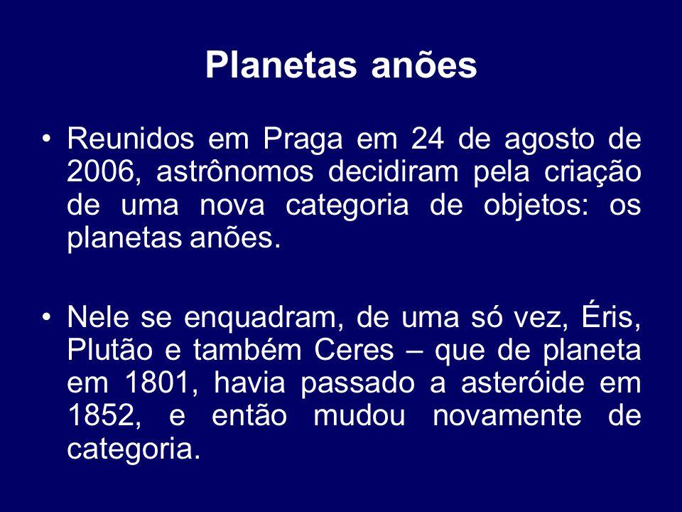 Planetas anões •Reunidos em Praga em 24 de agosto de 2006, astrônomos decidiram pela criação de uma nova categoria de objetos: os planetas anões.
