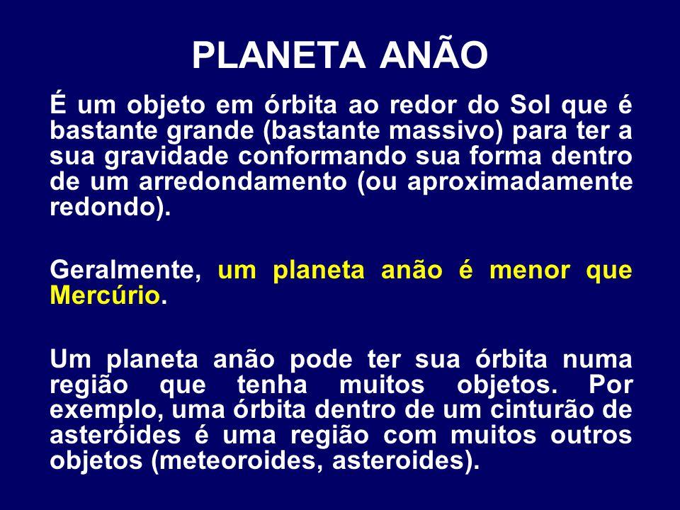 PLANETA ANÃO É um objeto em órbita ao redor do Sol que é bastante grande (bastante massivo) para ter a sua gravidade conformando sua forma dentro de um arredondamento (ou aproximadamente redondo).