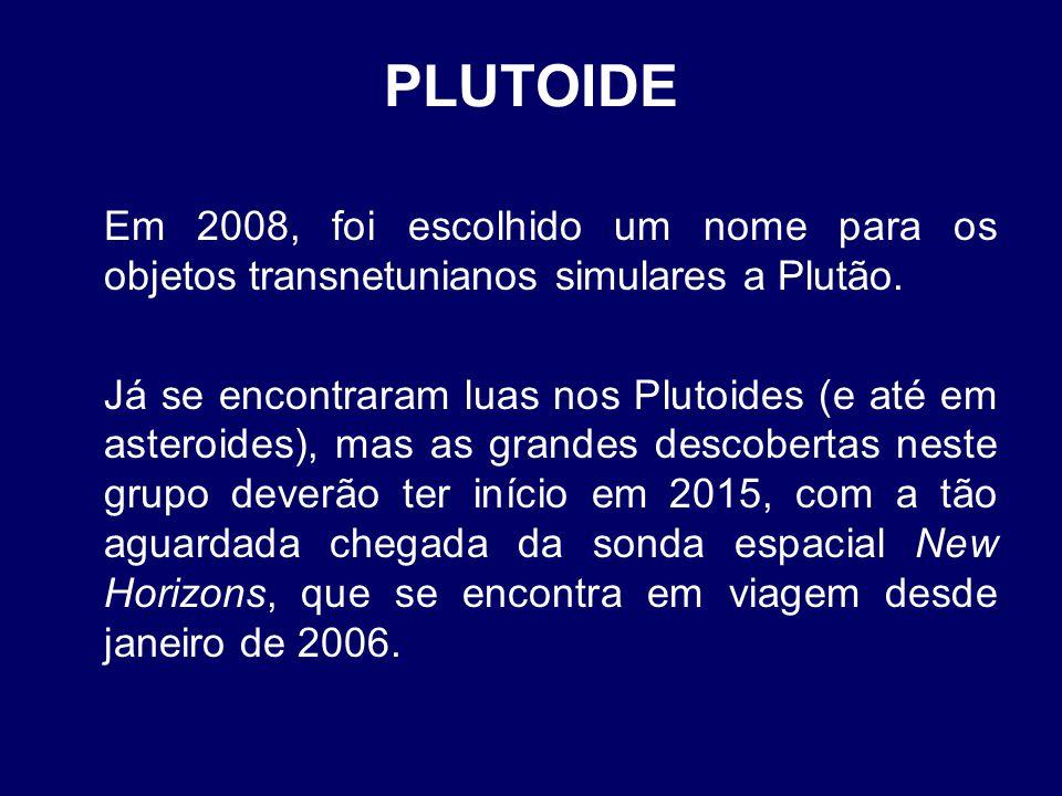 PLUTOIDE Em 2008, foi escolhido um nome para os objetos transnetunianos simulares a Plutão. Já se encontraram luas nos Plutoides (e até em asteroides)