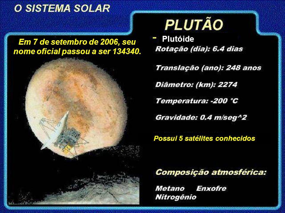 Em 7 de setembro de 2006, seu nome oficial passou a ser 134340. Possui 5 satélites conhecidos Plutóide
