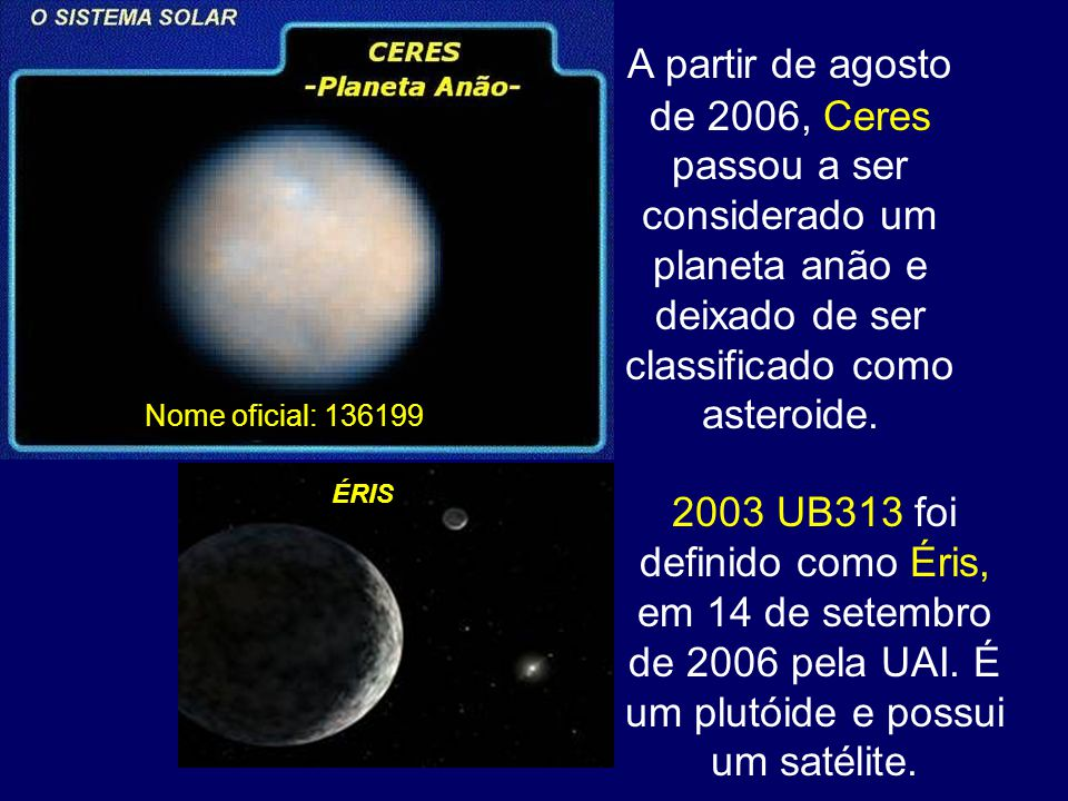 A partir de agosto de 2006, Ceres passou a ser considerado um planeta anão e deixado de ser classificado como asteroide. 2003 UB313 foi definido como