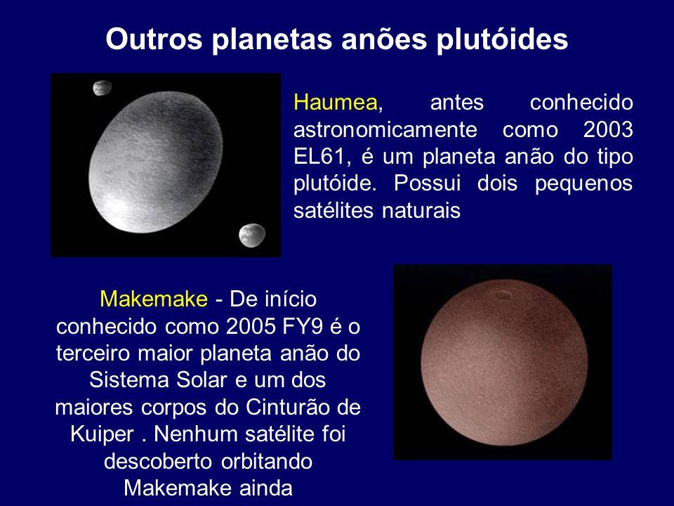 Outros planetas anões plutóides Haumea, antes conhecido astronomicamente como 2003 EL61, é um planeta anão do tipo plutóide. Possui dois pequenos saté