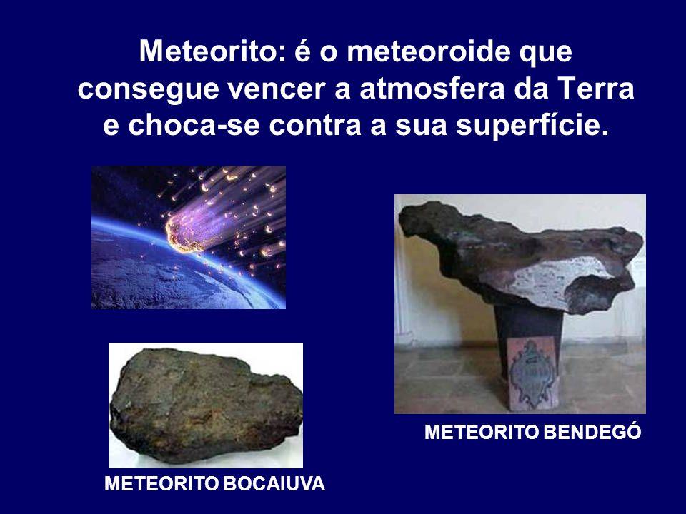 Meteorito: é o meteoroide que consegue vencer a atmosfera da Terra e choca-se contra a sua superfície.