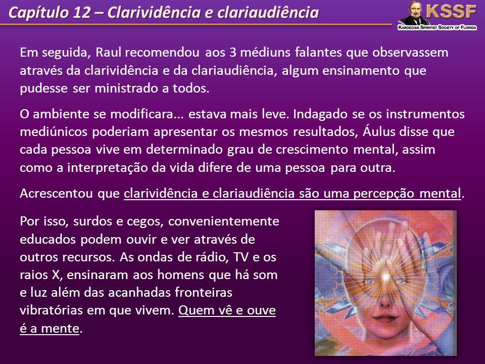 Capítulo 12 – Clarividência e clariaudiência 10 Em seguida, Raul recomendou aos 3 médiuns falantes que observassem através da clarividência e da clari