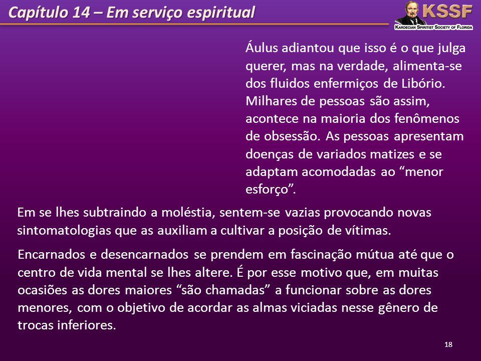 Capítulo 14 – Em serviço espiritual 18 Áulus adiantou que isso é o que julga querer, mas na verdade, alimenta-se dos fluidos enfermiços de Libório. Mi