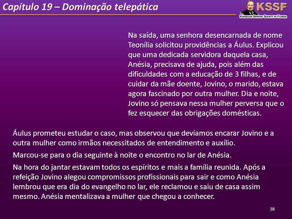 Capítulo 19 – Dominação telepática Na saída, uma senhora desencarnada de nome Teonília solicitou providências a Áulus. Explicou que uma dedicada servi