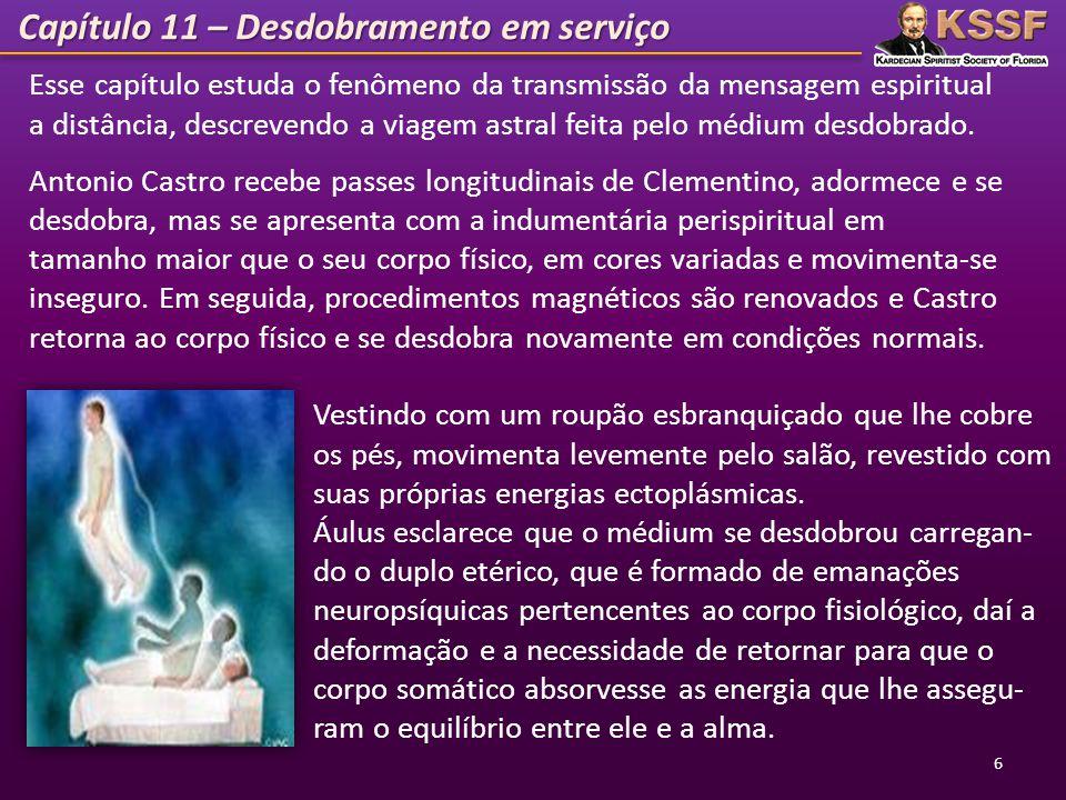 Capítulo 11 – Desdobramento em serviço 6 Esse capítulo estuda o fenômeno da transmissão da mensagem espiritual a distância, descrevendo a viagem astra