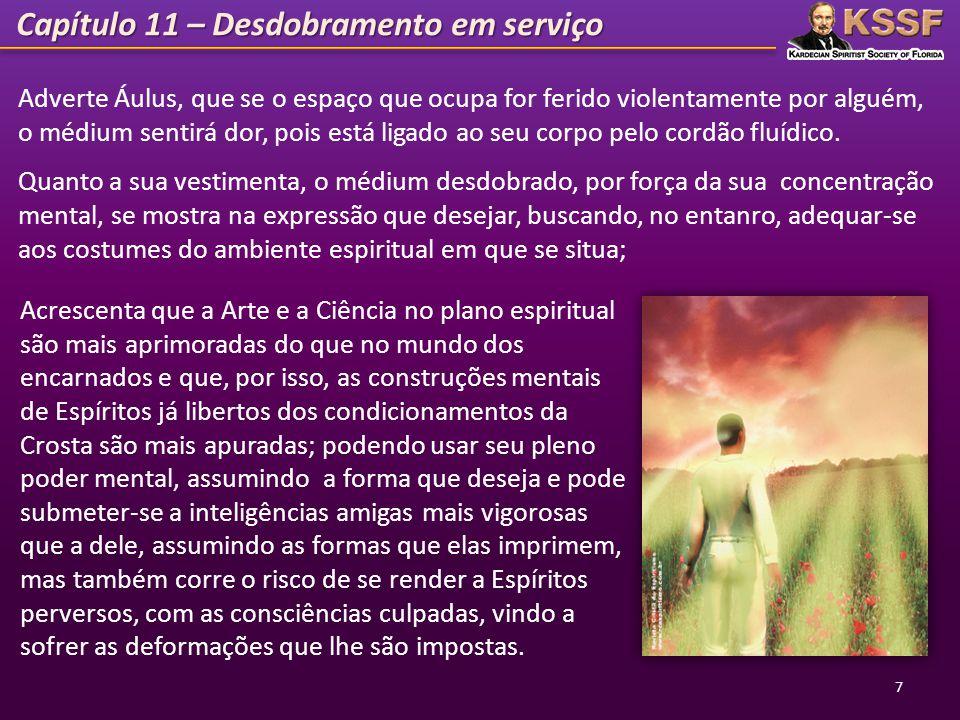 Capítulo 11 – Desdobramento em serviço 7 Adverte Áulus, que se o espaço que ocupa for ferido violentamente por alguém, o médium sentirá dor, pois está