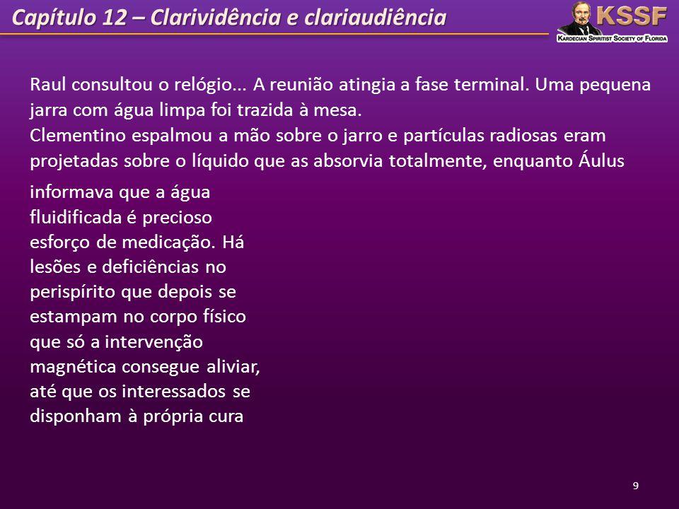 Capítulo 12 – Clarividência e clariaudiência 10 Em seguida, Raul recomendou aos 3 médiuns falantes que observassem através da clarividência e da clariaudiência, algum ensinamento que pudesse ser ministrado a todos.
