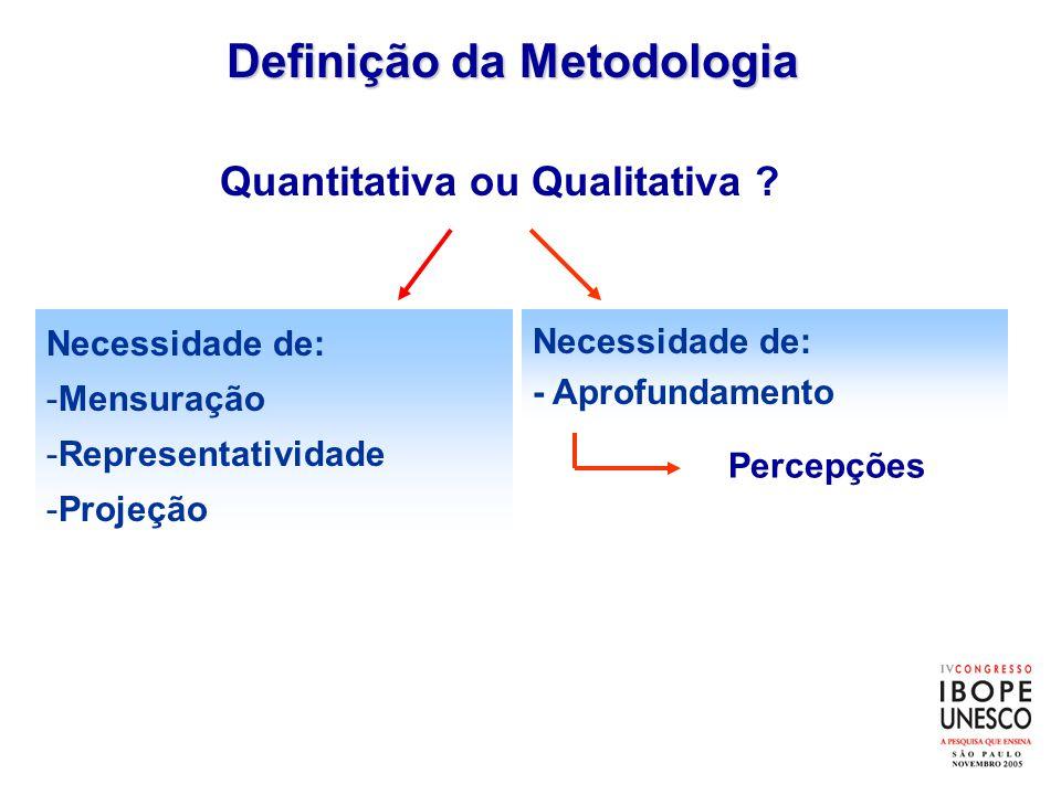 Quantitativa ou Qualitativa ? Definição da Metodologia Necessidade de: -Mensuração -Representatividade -Projeção Necessidade de: - Aprofundamento Perc