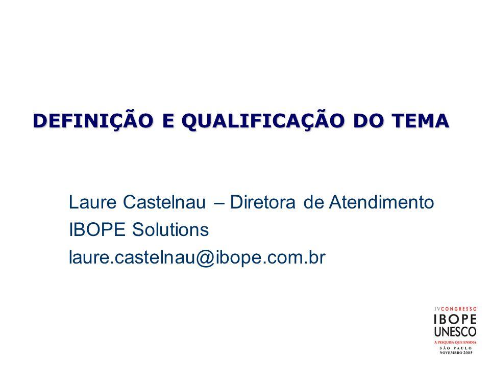 DEFINIÇÃO E QUALIFICAÇÃO DO TEMA Laure Castelnau – Diretora de Atendimento IBOPE Solutions laure.castelnau@ibope.com.br