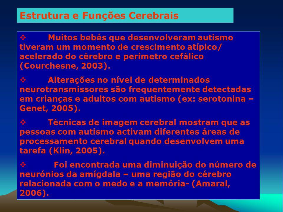 Estrutura e Funções Cerebrais  Muitos bebés que desenvolveram autismo tiveram um momento de crescimento atípico/ acelerado do cérebro e perímetro cef