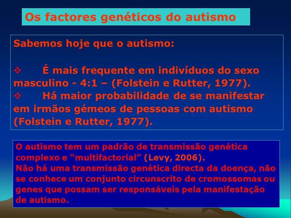 Os factores genéticos do autismo Sabemos hoje que o autismo:  É mais frequente em indivíduos do sexo masculino - 4:1 – (Folstein e Rutter, 1977).  H
