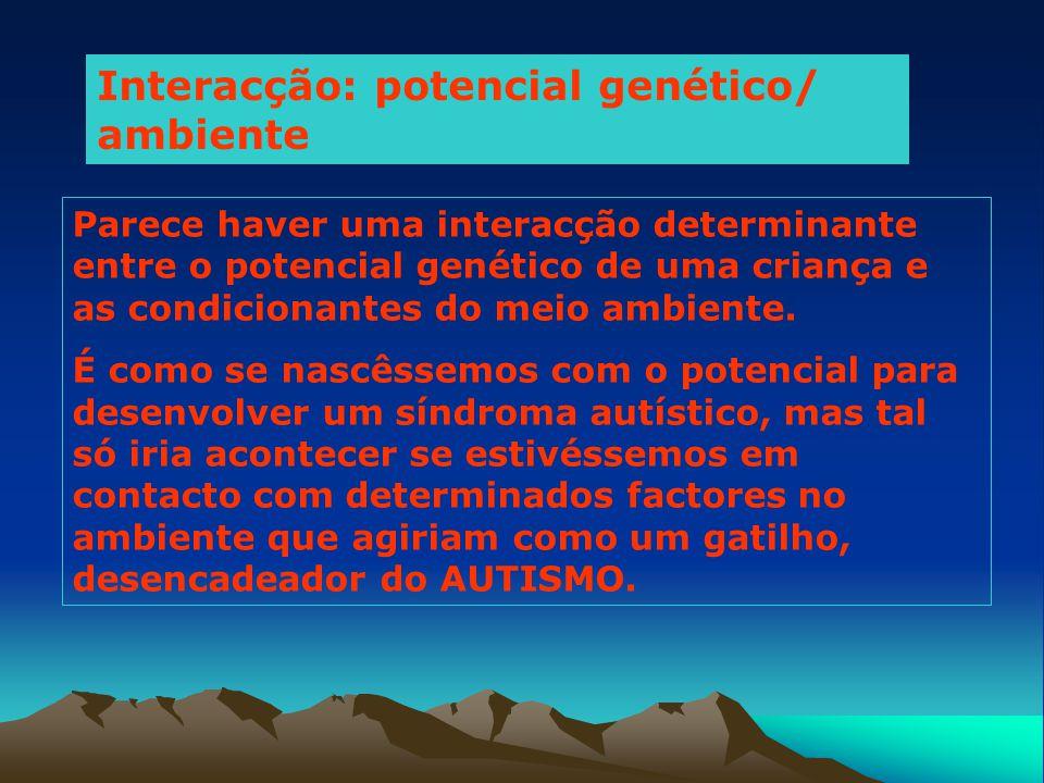 Interacção: potencial genético/ ambiente Parece haver uma interacção determinante entre o potencial genético de uma criança e as condicionantes do mei