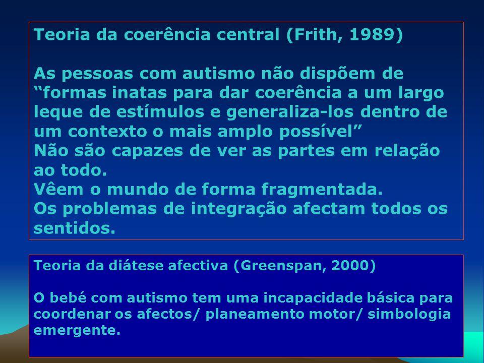 """Teoria da coerência central (Frith, 1989) As pessoas com autismo não dispõem de """"formas inatas para dar coerência a um largo leque de estímulos e gene"""