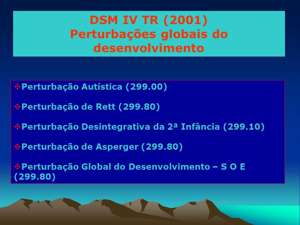DSM IV TR (2001) Perturbações globais do desenvolvimento  Perturbação Autística (299.00)  Perturbação de Rett (299.80)  Perturbação Desintegrativa