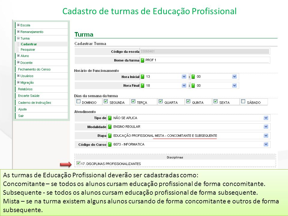 Cadastro de turmas de Educação Profissional As turmas de Educação Profissional deverão ser cadastradas como: Concomitante – se todos os alunos cursam educação profissional de forma concomitante.