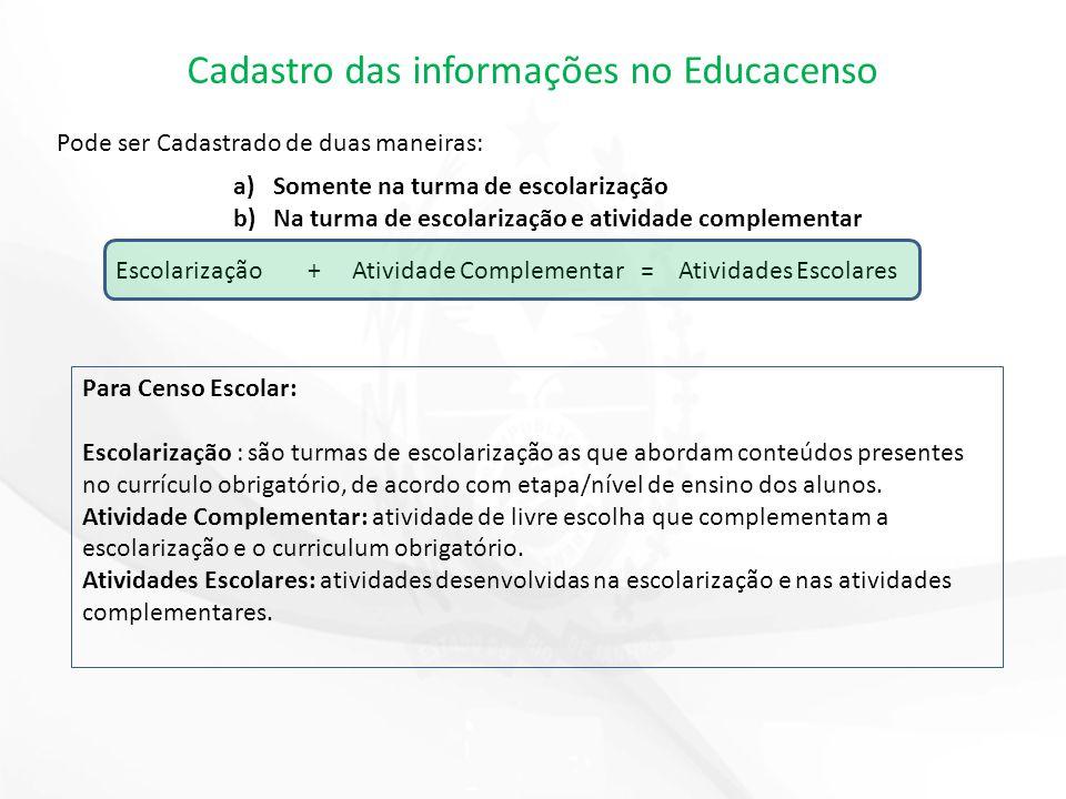 Cadastro das informações no Educacenso Pode ser Cadastrado de duas maneiras: a)Somente na turma de escolarização b)Na turma de escolarização e ativida