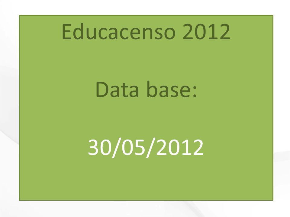 Educacenso 2012 Data base: 30/05/2012