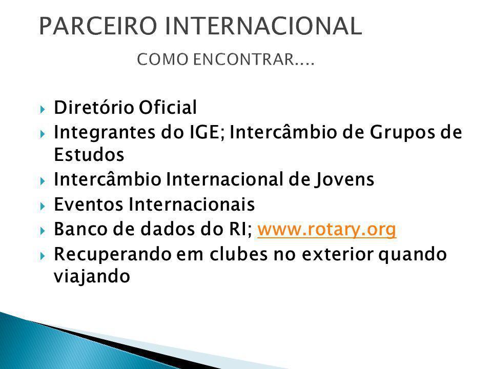 DDiretório Oficial IIntegrantes do IGE; Intercâmbio de Grupos de Estudos IIntercâmbio Internacional de Jovens EEventos Internacionais BBanco