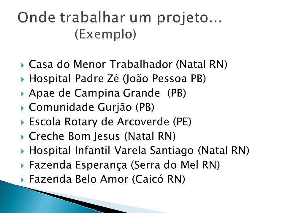 CCasa do Menor Trabalhador (Natal RN) HHospital Padre Zé (João Pessoa PB) AApae de Campina Grande (PB) CComunidade Gurjão (PB) EEscola Rotar
