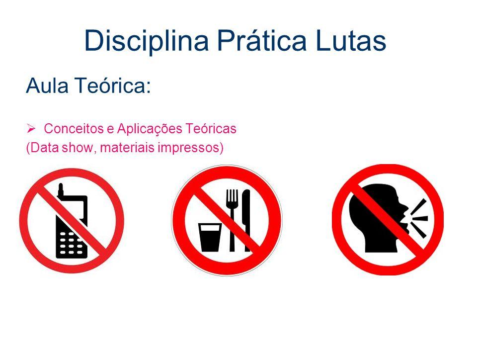 Disciplina Prática Lutas Aula Teórica:  Conceitos e Aplicações Teóricas (Data show, materiais impressos)