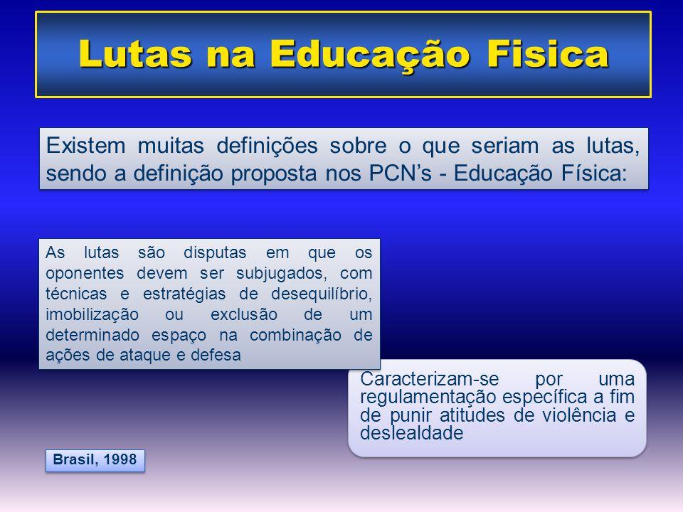 Caracterizam-se por uma regulamentação específica a fim de punir atitudes de violência e deslealdade Brasil, 1998 Lutas na Educação Fisica Existem mui