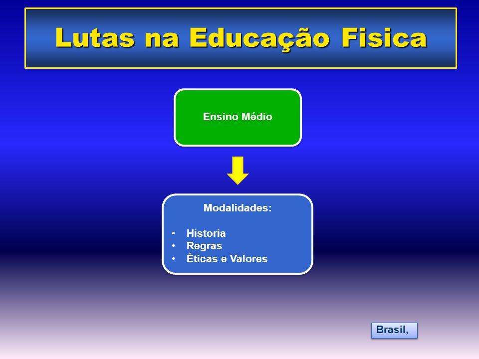 Ensino Médio Modalidades: •Historia •Regras •Éticas e Valores Modalidades: •Historia •Regras •Éticas e Valores Brasil, Lutas na Educação Fisica