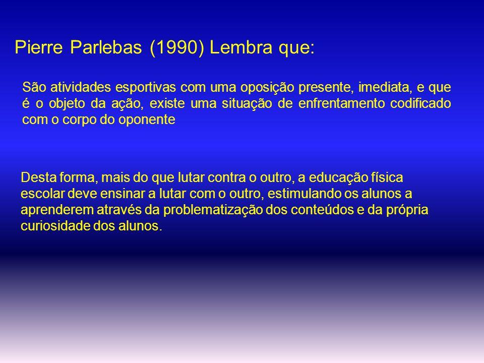 Pierre Parlebas (1990) Lembra que: São atividades esportivas com uma oposição presente, imediata, e que é o objeto da ação, existe uma situação de enf