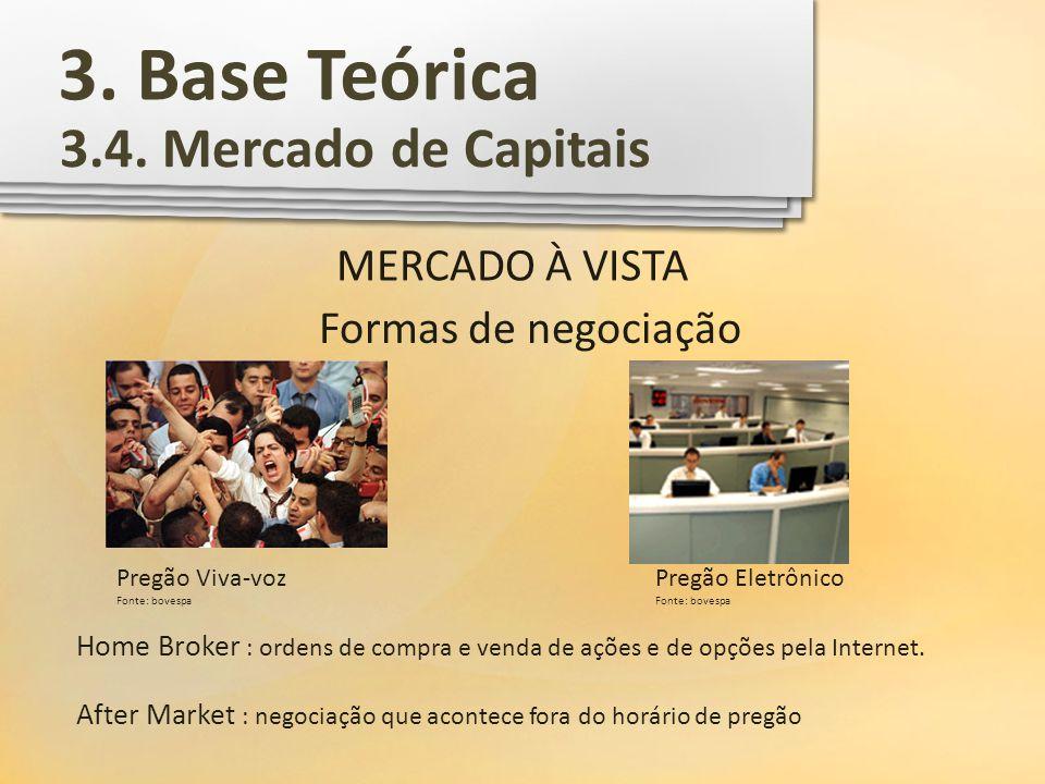 3. Base Teórica 3.4. Mercado de Capitais MERCADO À VISTA Formas de negociação Pregão Viva-voz Fonte: bovespa Pregão Eletrônico Fonte: bovespa Home Bro